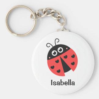Porte-clés Coccinelle rouge et noire mignonne avec des coeurs