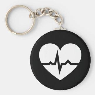Porte-clés Coeur avec le cardiologue de vague d'ECG ou