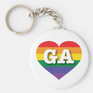Porte-clés Coeur d'arc-en-ciel de gay pride de la Géorgie -