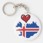 Porte-clés Coeur de rouge de drapeau de pays de l'Islande