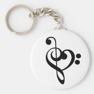 Porte-clés Coeur musical : Clefs triples et basses enlacées