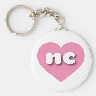 Porte-clés Coeur rose de la Caroline du Nord - mini amour