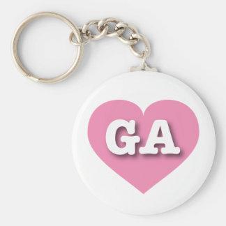 Porte-clés Coeur rose de la Géorgie - grand amour