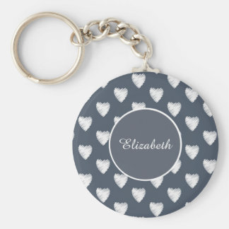 Porte-clés Coeurs blancs sur le monogramme de bleu marine