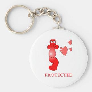 Porte-clés Coeurs protégés par préservatif de type