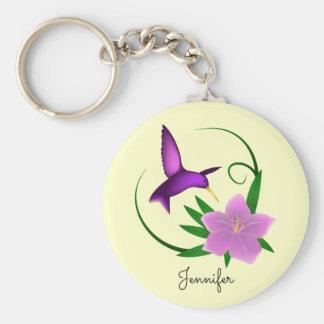 Porte-clés Colibri avec la fille rose de nom de fleur