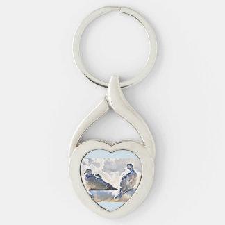 Porte-clés Colombes d'amour dans le porte - clé de nuages