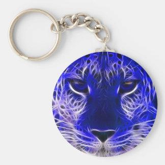 Porte-clés conception bleue de fractale de guépard