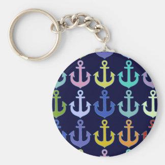 Porte-clés conception colorée de marine de motif d'ancre