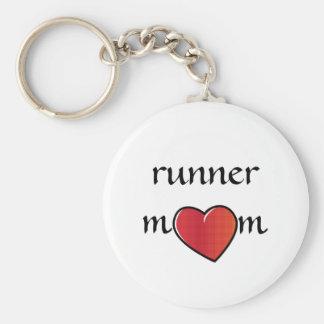 Porte-clés Conception rouge de coeur de maman de coureur