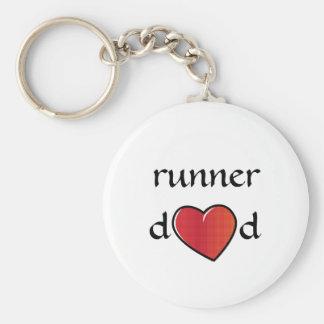 Porte-clés Conception rouge de coeur de papa de coureur