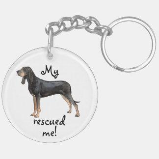 Porte-clés Coonhound noir et bronzage de délivrance