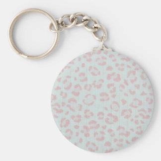 Porte-clés copie animale de jungle de guépard de roses pâles