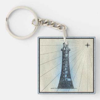Porte-clés Copie marine de phare noir avec le cadre bleu