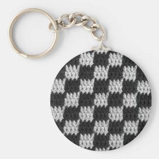 Porte-clés Copie noire et grise de crochet de carrés