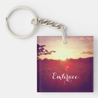 Porte-clés Coucher du soleil élégant de champ avec la fusée
