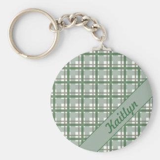 Porte-clés Couleurs pastel de motif vert de tartan avec le