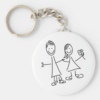 Porte-clés Couples de pair des amants dessinant le porte -