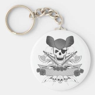 Porte-clés crâne de pirate avec des serpents et des roses