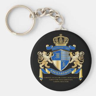 Porte-clés Créez votre propre manteau d'emblème bleu de lion
