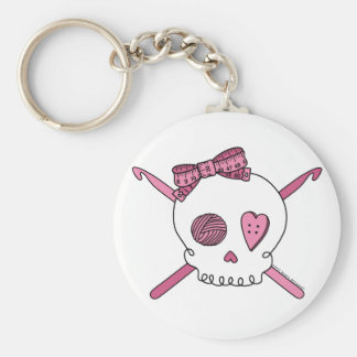Porte-clés Crochets de crâne et de crochet (rose)