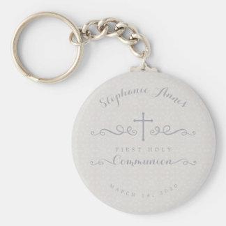 Porte-clés Croix fleurie de communion dans le motif floral de