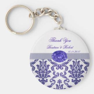 Porte-clés Damassé bleu-foncé, porte - clé d'image de pierre