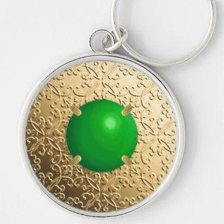 Porte-clés Damassé d'or avec une pierre gemme de jade de faux