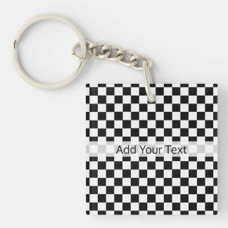 Porte-clés Damier classique noir et blanc par STaylor
