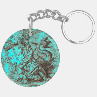 Porte-clés Dauphin d'équitation de Poseidon de carte du monde