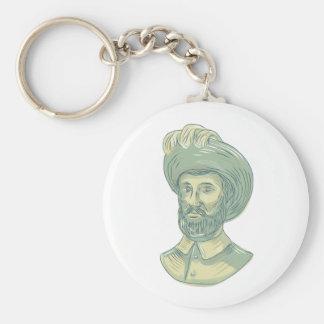 Porte-clés Dessin de buste de Juan SebastiAn Elcano