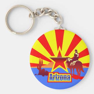 Porte-clés Dessin vintage de drapeau d'état de l'Arizona