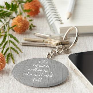 Porte-clés Dieu est chez elle, elle ne tombera pas vers de