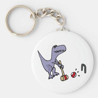 Porte-clés Dinosaure bleu drôle de T-Rex jouant le croquet
