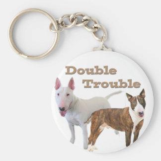 Porte-clés Double problème de bull-terrier