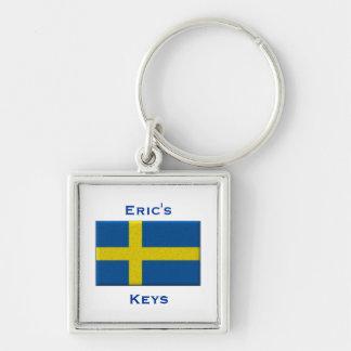 Porte-clés Drapeau du nom fait sur commande suédois de la