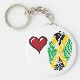 Porte-clés Drapeau jamaïcain d'empreinte digitale de contact