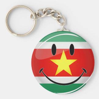 Porte-clés Drapeau rond brillant du Surinam