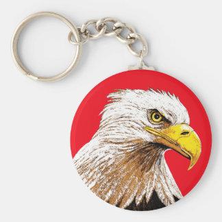 Porte-clés Eagle chauve sur le rouge