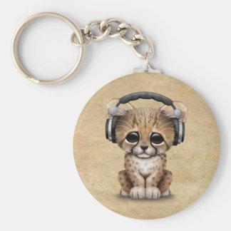 Porte-clés Écouteurs de port mignons de CUB DJ de guépard