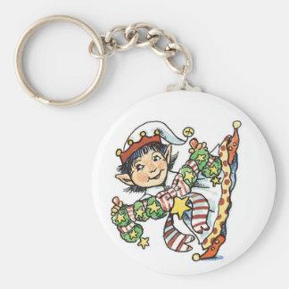 Porte-clés Elf heureux mignon dansant, rétro bande dessinée