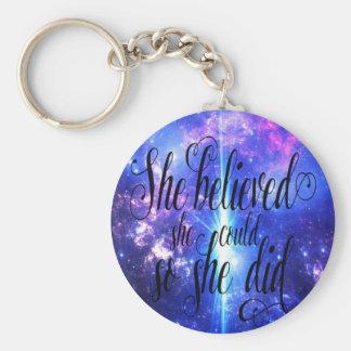 Porte-clés Elle a cru en cieux iridescents
