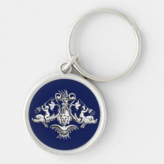 Porte-clés Emblème nautique de dauphin, d'ange et de
