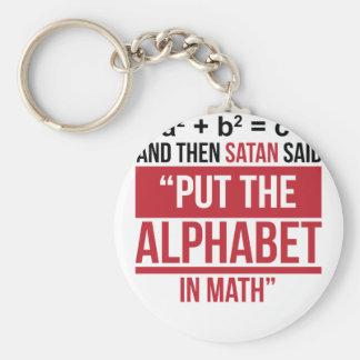 """Porte-clés Et alors Satan a dit que """"mettez l'alphabet dans"""