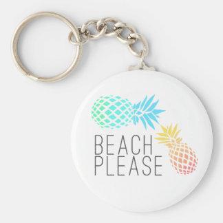 """Porte-clés été à la mode """"plage svp"""", ananas coloré"""