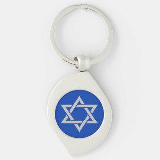 Porte-clés Étoile de David argentée mate de l'Israël sur le