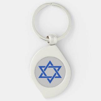 Porte-clés Étoile de David bleue de l'Israël sur l'argent mat