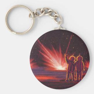 Porte-clés Explosion rouge étrangère vintage de planète de la