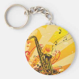 Porte-clés Faisceaux bariolés de saxophone de la musique