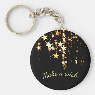 Porte-clés Faites un souhait sur les étoiles en baisse d'or